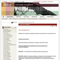 Nadia Yala KISUKIDI - Département de philosophie - Université Paris 8