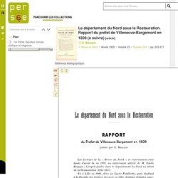 Le département du Nord sous la Restauration. Rapport du préfet de Villeneuve-Bargemont en 1828 (à suivre)