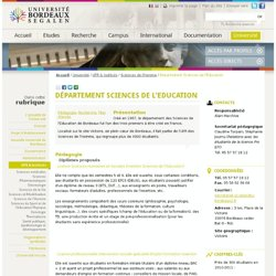 Département Sciences de l'Education