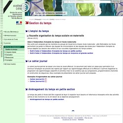 Gestion du temps - DSDEN du Val-de-Marne- Espace départemental m@ternelle 94.