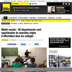 Mixité sociale : 20 départements vont expérimenter de nouvelles règles d'affectation dans les collèges