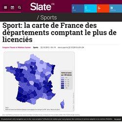 Sport: la carte de France des départements comptant le plus de licenciés