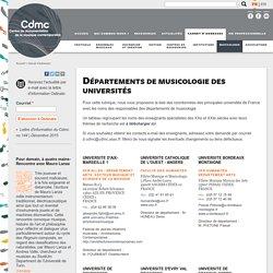 Départements de musicologie des universités
