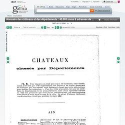Classement par département des châteaux et des départements : 40.000 noms