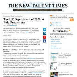 The HR Department of 2020: 6 Bold Predictions - New Talent Times Blog