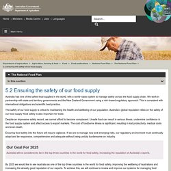 Department of Agriculture 5.2 Ensuring the safety of our food supply