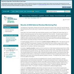 IRLANDE 17/07/07 Results of 2006 National Residue Monitoring Plan