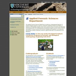 Applied Forensic Sciences Department | Mercyhurst Archaeological Institute