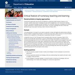 Department of Education - Critical feature of numeracy teaching and learning