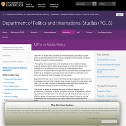MPhil in Public Policy — Department of Politics and International Studies (POLIS)