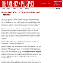 Department of Ed Lets Schools Off the Hook