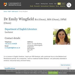 Dr Emily Wingfield - Department of English Literature