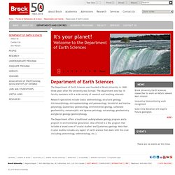 Department of Earth Sciences | Brock University