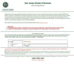 N.J. Department of Treasury - Division of Revenue, On-Line Filing