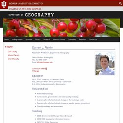 Darren L. Ficklin - Faculty: Department of Geography: Indiana University