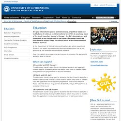 Education - Department of Political Science, University of Gothenburg, Sweden