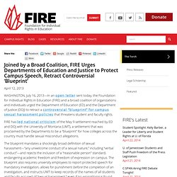 Joined by a Broad Coalition, FIRE Urges Departments of Education and Justice to Protect Campus Speech, Retract Controversial 'Blueprint'