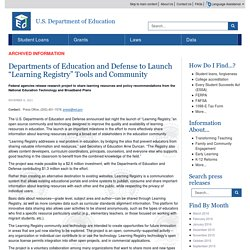 """Departments of Education and Defense to Launch """"Learning Registry"""" Tools and Community"""