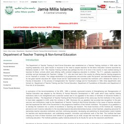 Jamia - Departments -Department of Teacher Training & Non-formal Education - Introduction