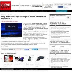 Sony dépasserait déjà son objectif annuel de ventes de Playstation 4