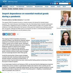 Import dependence on essential medical goods during a pandemic