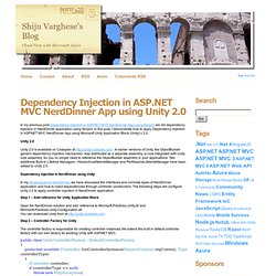 Dependency Injection in ASP.NET MVC NerdDinner App using Unity 2.0 - Shiju Varghese's Blog