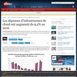 Les dépenses d'infrastructure de cloud ont augmenté de 9,2% en 2016 - ZDNet