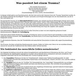 Trauma bzw Psychotrauma / Dissoziation / dissoziative Amnesie / Flashbacks / PTBS bzw PTSD / ADS bzw ADHS bzw AHDS / Depersonalisation / Derealisation