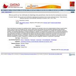 ENVT - 2012 - Thèse en ligne : Mise au point sur les méthodes de dépistage des parasitoses chez les bovins (autopsies exclues)