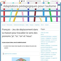 """Français - Jeu de déplacement dans la maison pour travailler le sens des pronoms """"je"""", """"tu"""", """"on"""" et """"nous"""". - Adaptations pédagogiques pour l'autisme"""