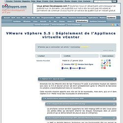 VMware vSphere 5.5 : D ploiement de l'Appliance virtuelle vCenter