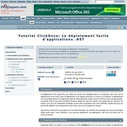 Tutoriel ClickOnce: Le déploiement facile d'applications .NET