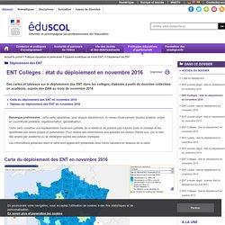 Déploiement des ENT - ENT Collèges : état du déploiement en novembre 2016