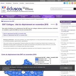 Déploiement des ENT - ENT Collèges : état du déploiement en novembre 2018