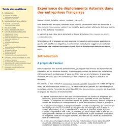 Expérience de déploiements Asterisk dans des entreprises françaises