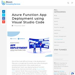 Deploy Azure Function Application Using Visual Studio Code