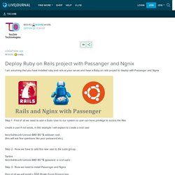 Deploy Ruby on Rails project with Passanger and Ngnix: tecorb