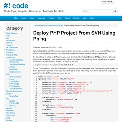Deploy PHP Project From SVN Using Phing