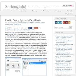 PyXLL: Deploy Python to Excel Easily