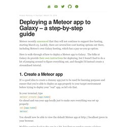 Deploying a Meteor app to Galaxy – a step-by-step guide – Coder Chronicles