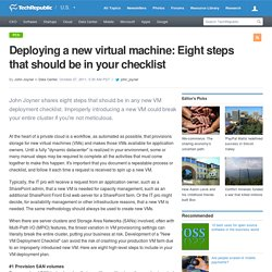 Deploying a new virtual machine: Eight steps that should be in your checklist