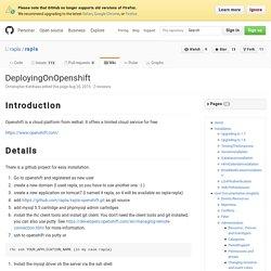 DeployingOnOpenshift · rapla/rapla Wiki