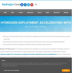 Hydrogen Deployment Accelerating with More Than $300 Billion in Project Pipeline; Including $80 Billion in Mature Projects - Hydrogen Council