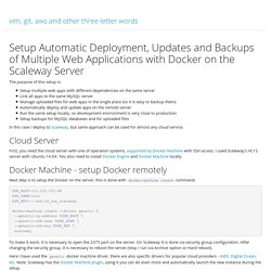 Setup Automatic Deployment, Updates and Backups of Multiple Web Applications with Docker on the Scaleway Server
