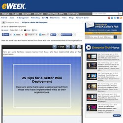 25 Tips for a Better Wiki Deployment