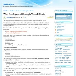 Web Deployment through Visual Studio - WebTopics