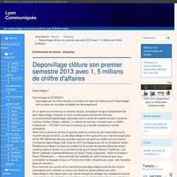 Deporvillage clôture son premier semestre 2013 avec 1, 5 millions de chiffre d'affaires - Lyon Communiqués