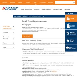 FCNR Fixed Deposit Account - Foreign Currency Non Residential Account – FCNR Rates - ICICI Bank