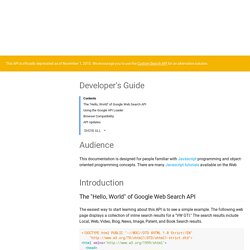 Developer's Guide - Google Web Search API (Deprecated)