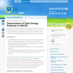 Depreciation of Solar Energy Property in MACRS